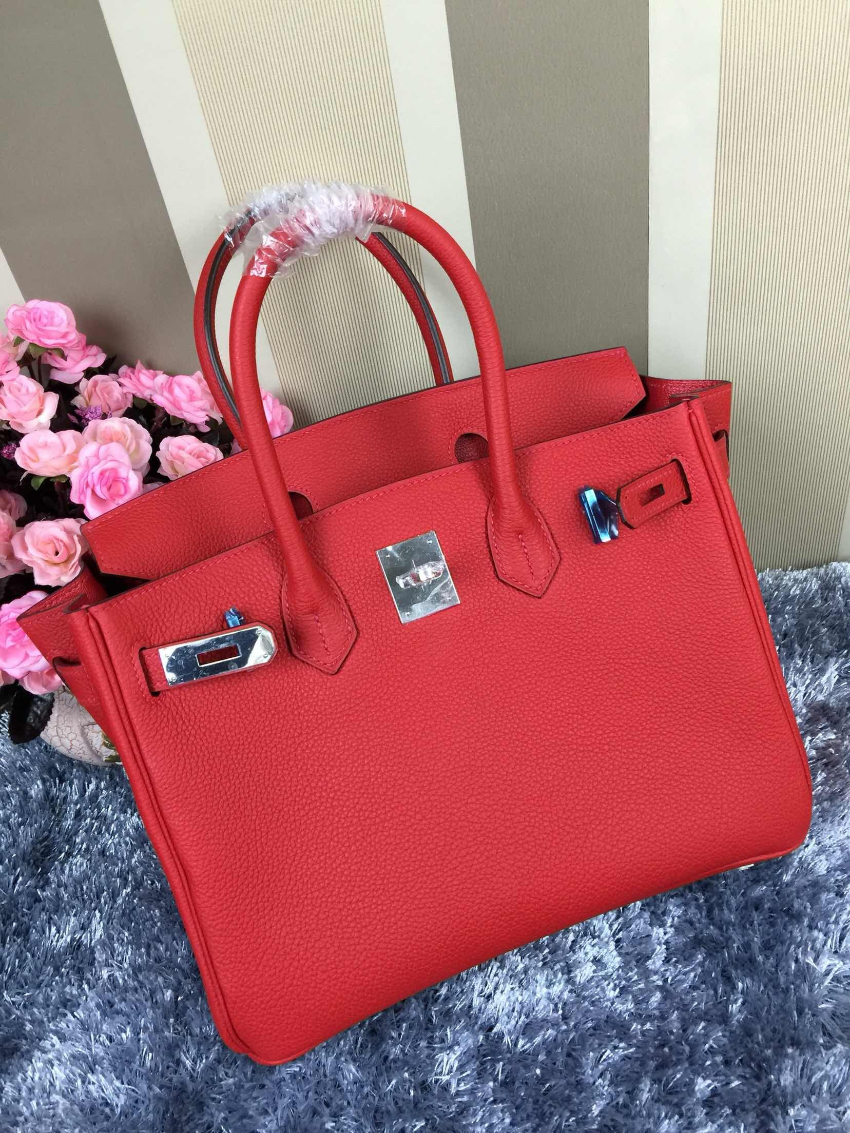 05bf8b5c65164 Hermes Birkin 30 Original Togo Leather Red (Silver hardware ...