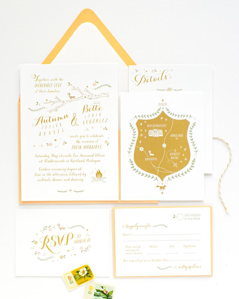 Woodland Animals Illustrated Wedding Invitation alisabobzien.com