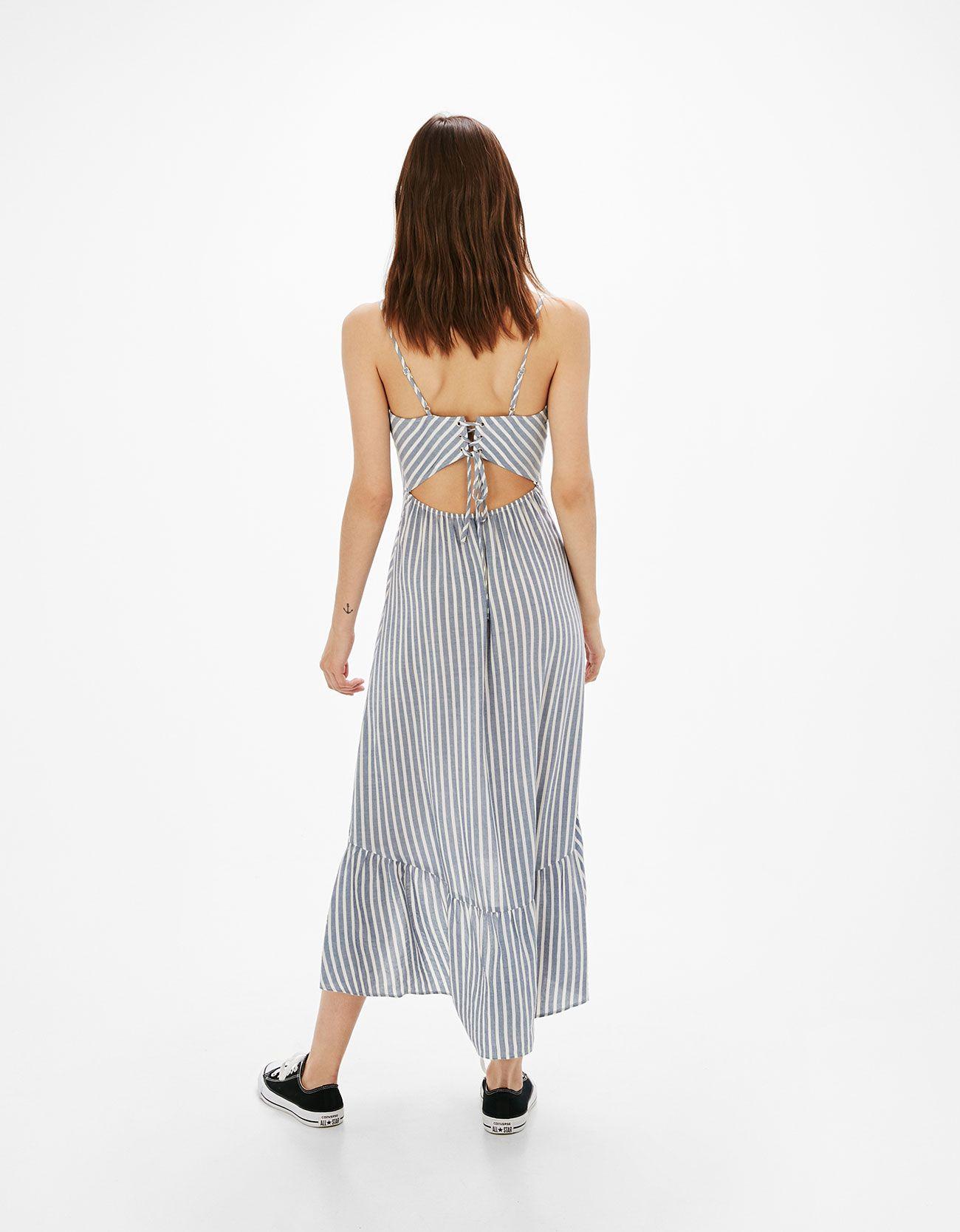 Vestido largo rayas y lazo espalda