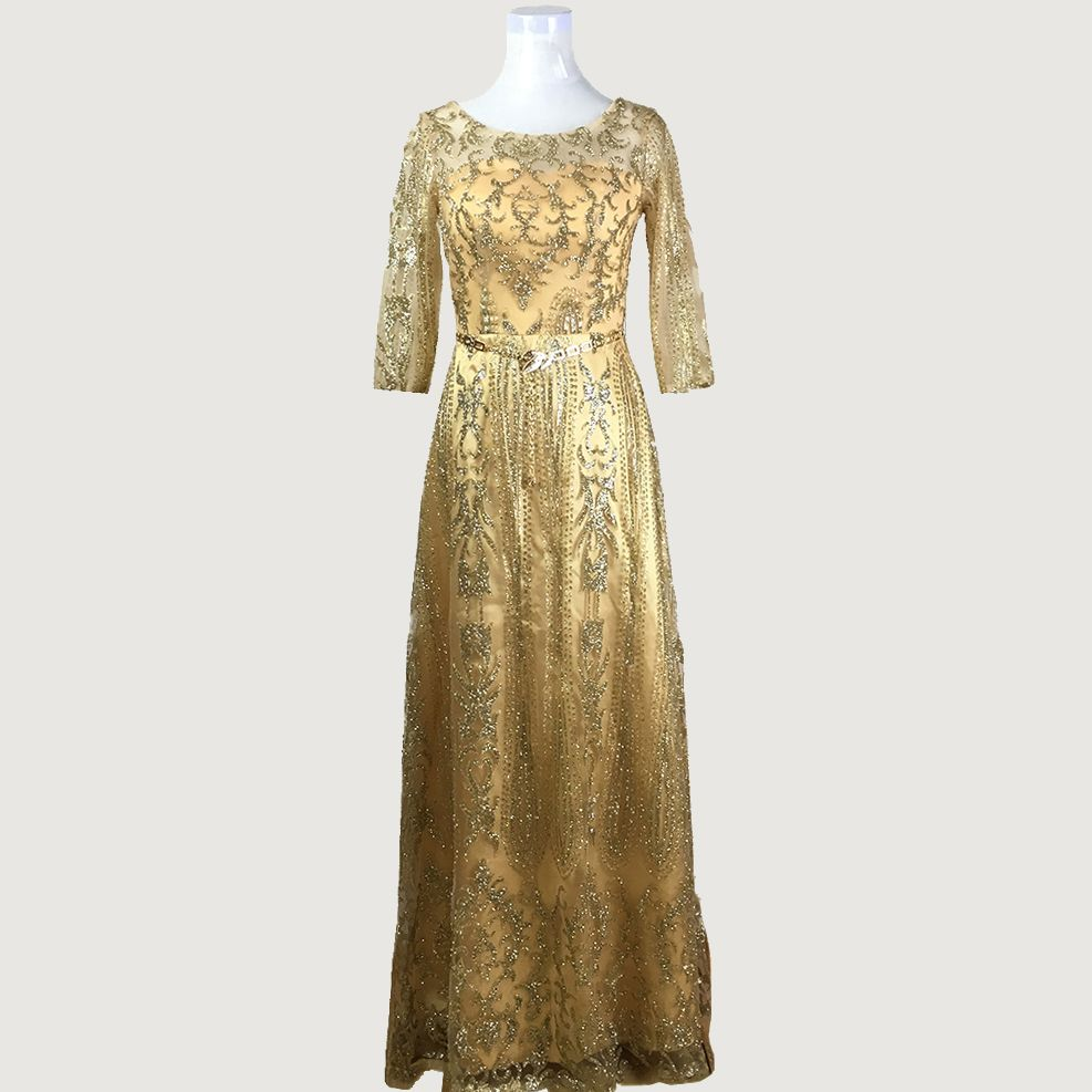 Gold sparkly sequined half sleeve sheer muslim dubai long evening