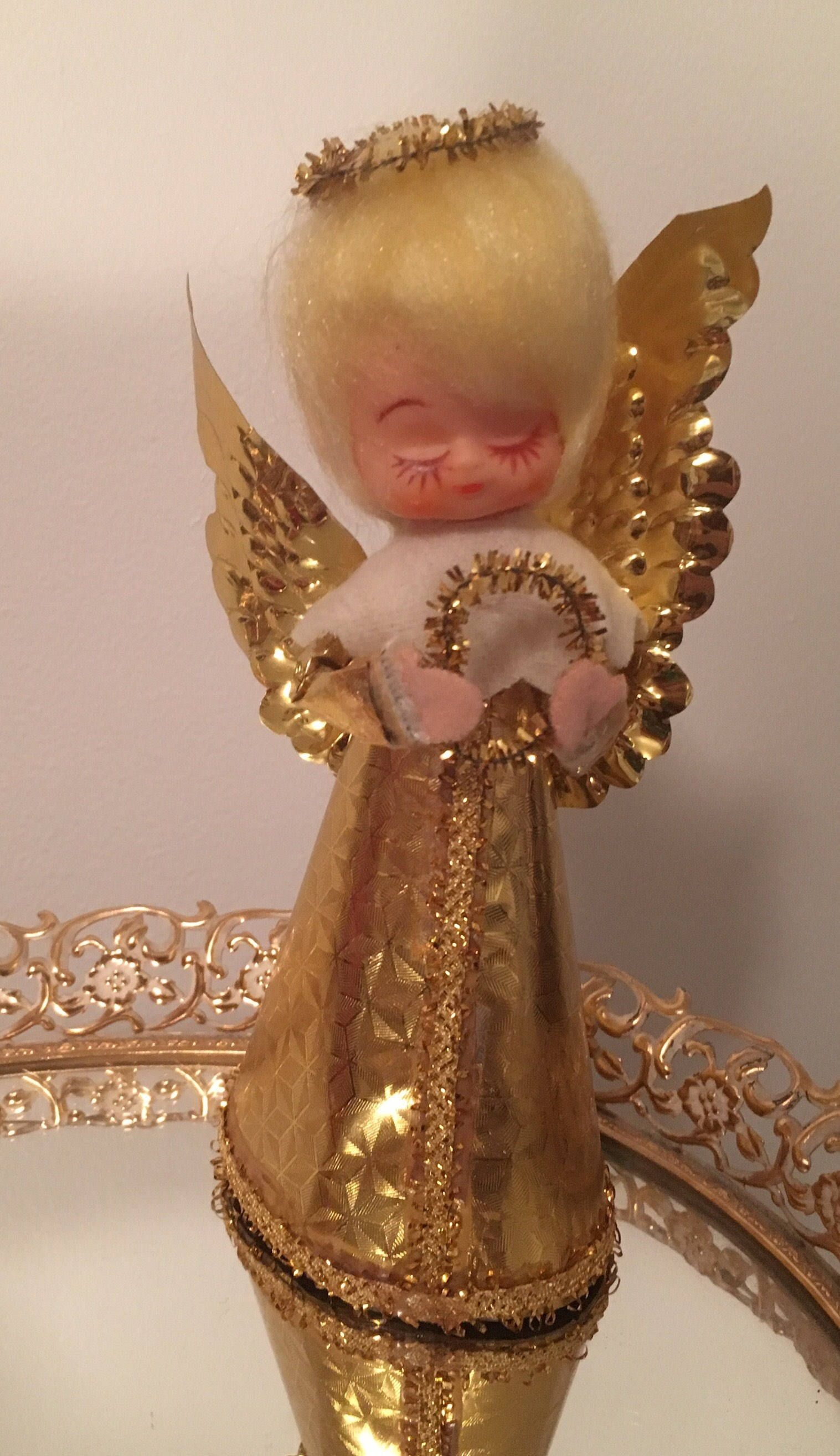 Vintage Christmas Angel Tree Topper Gold Wings Gold Halo Made In Japan By Vintagelove50 On Etsy Christmas Angels Vintage Christmas Angel Tree Topper