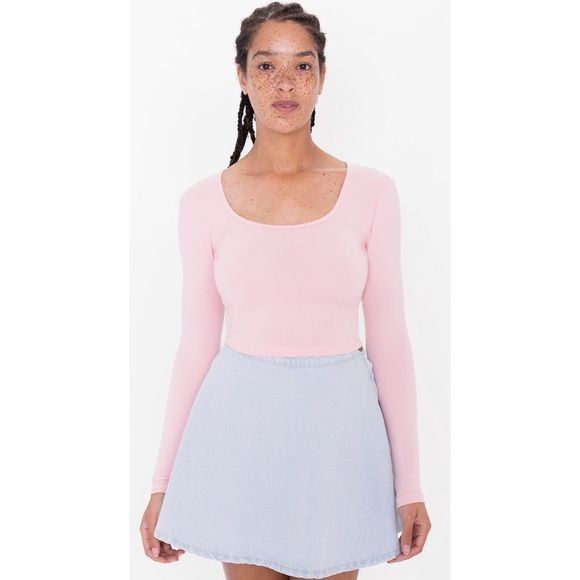 1eafae72bda American Apparel Pink Long Sleeve Crop Top. American Apparel Long Sleeve  Crop Top. Light