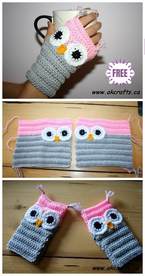 Crochet Fingerless Owl Mittens Free Crochet Pattern #sweatercrochetpattern