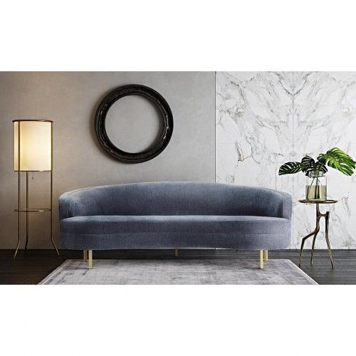 Grey Velvet Curved Silhouette Sofa Gold Legs Elegantly curved