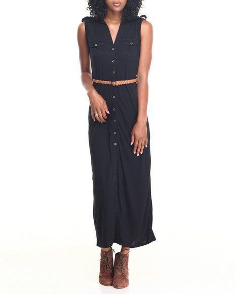 Fashion Lab - Knit Maxi Shirt Dress w/ Roll Tab Sleeve and Braided Belt
