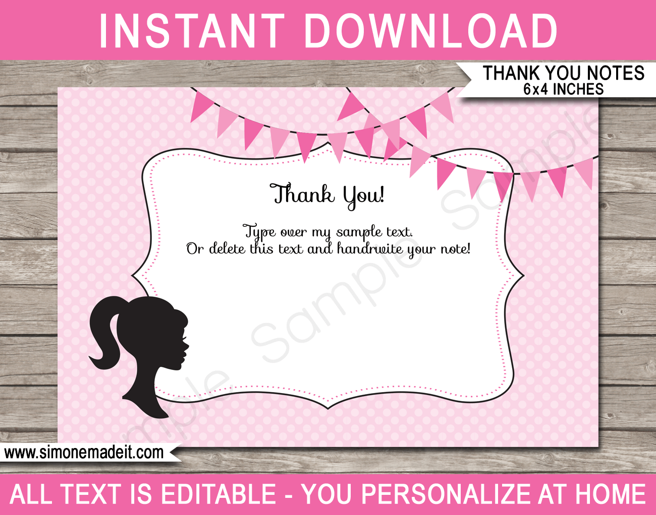 Barbie Party Thank You Cards Template Birthday Thank You Cards Note Card Template Thank You Card Template
