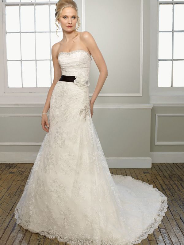A-line Sweetheart Lace Court Train Sashes / Ribbons Wedding Dresses at Msdressy