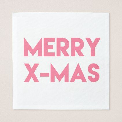 Merry XMas Modern Hot Pink Typography Christmas Paper Napkin
