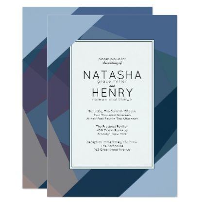 Modern Blue Wedding Invitations  Invitations Personalize Custom