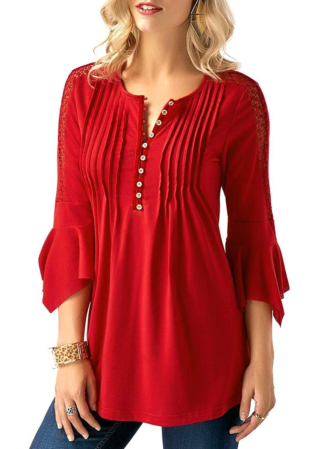 c9acce7cbffc Bzonly Summer Women Shirts 34 Bell Sleeve Blouse Button Pleated Henley Tops  at Amazon Womens Clothing store -- Amazon Affiliate link.