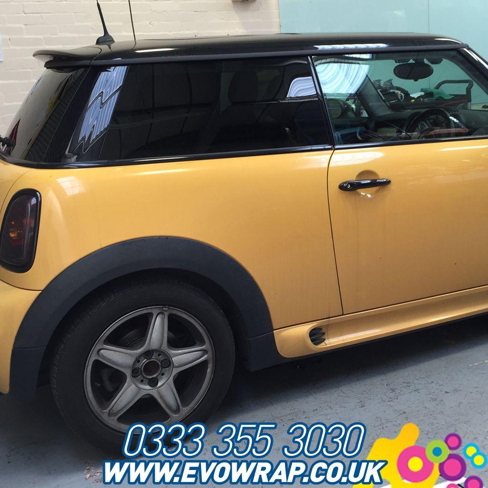Mini Cooper with 5 tinted on rear windows Vinyl wrap