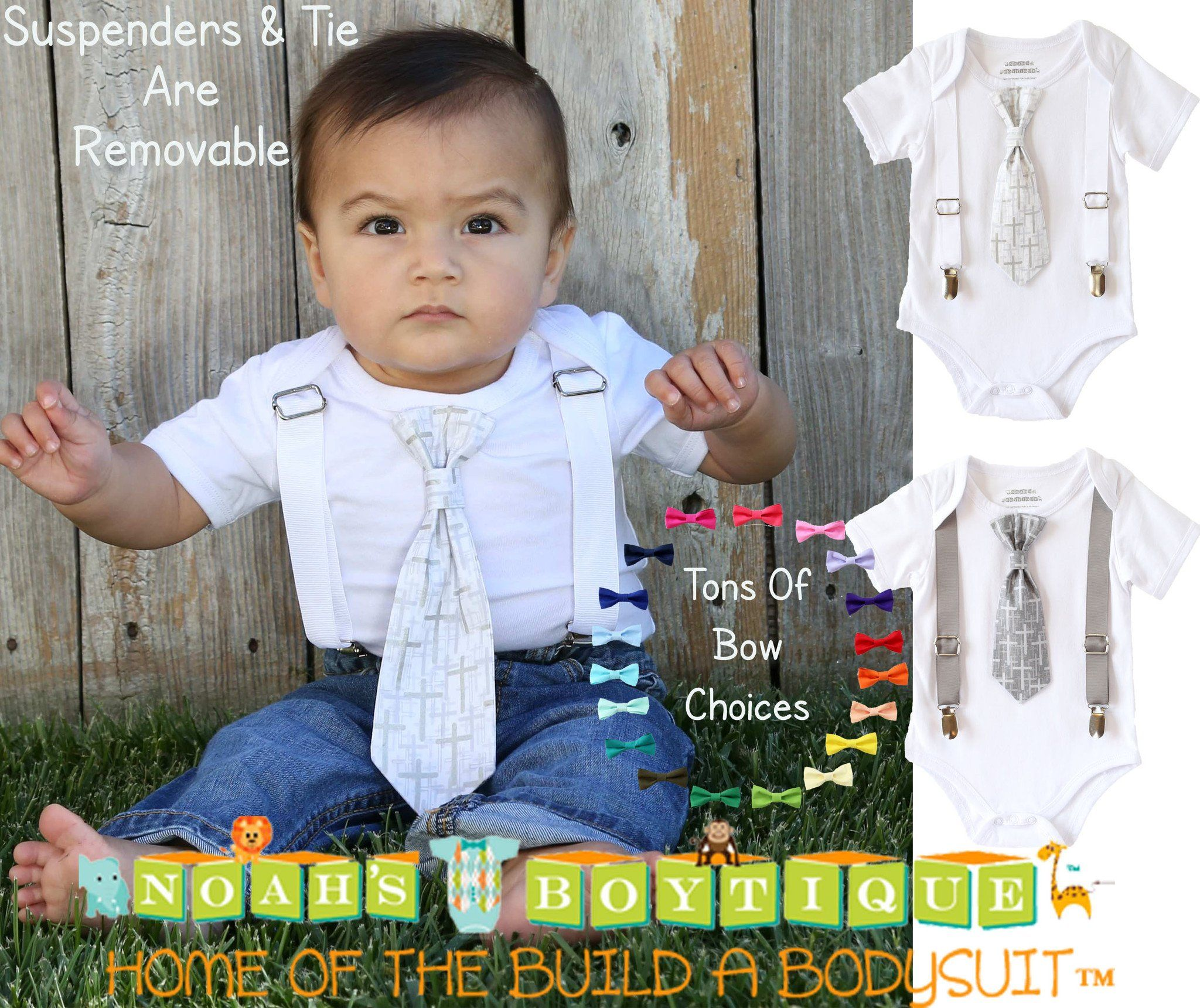 b8bbfe4fc5ac Baptism Outfits for Baby Toddler Boys Cross Tie with Suspenders ...