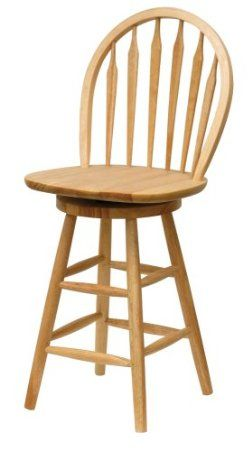 Winsome Wood 24-Inch Windsor Swivel Seat Bar Stool, Natural New chairs for the island!