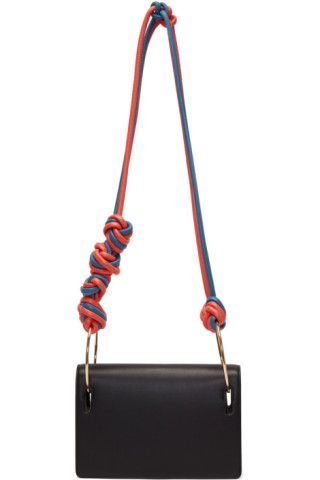 f486ea3ebc1b Structured grained leather shoulder bag in black. Braided cord shoulder  strap in pink and blue