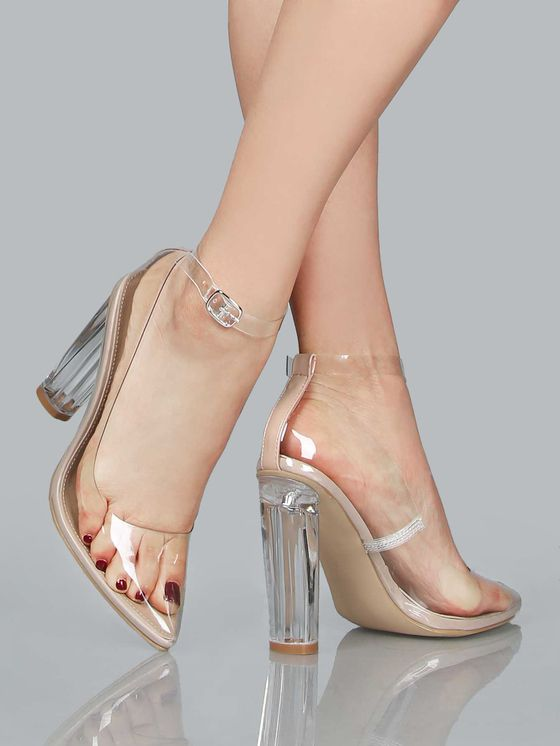 3c54b52b019f2 Online shopping for Perspex Heel Clear Pumps NUDE from a great selection of  women s fashion clothing   more at MakeMeChic.COM.