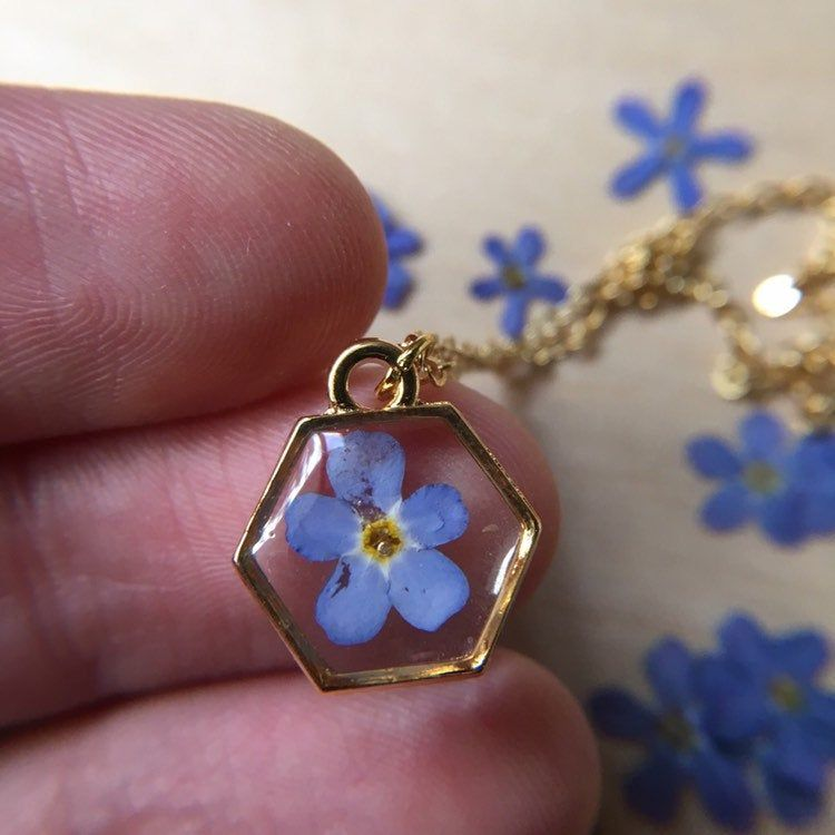 pressed flowers geometric jewelry forget-me-not resin necklace Rose gold hexagon resin necklace botanical jewelry