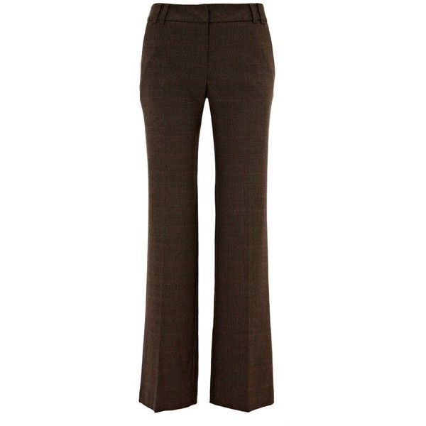 Brown Check Boyfriend Trousers ($38) ❤ liked on Polyvore featuring pants, bottoms, trousers, brown, women's trousers, women+trousers &amp leggings, checkered pants, boyfriend pants, brown pants and checked pants