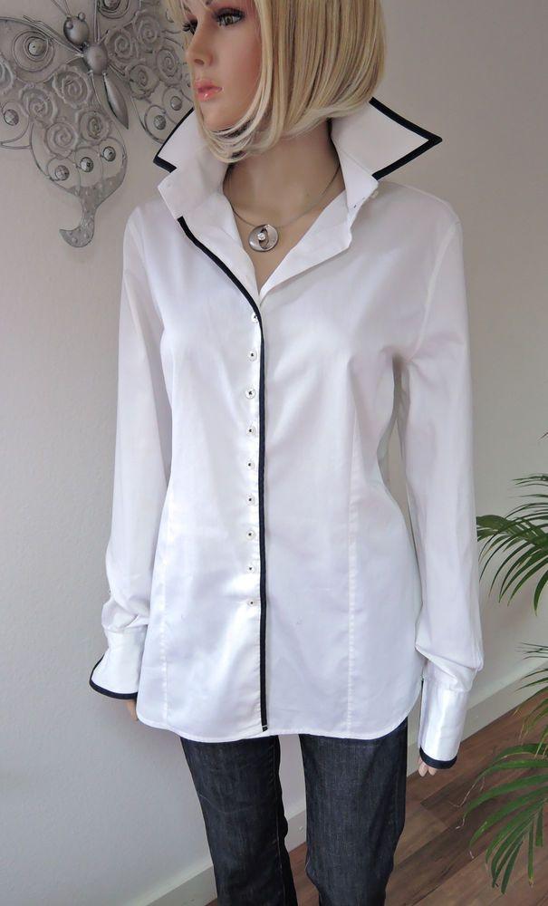 5cf55e5e3ff4 MARNELLI weiße Luxus Bluse   Hemdbluse   Baumwolle   großer Kragen Gr. 44  in Kleidung   Accessoires, Damenmode, Blusen, Tops   Shirts   eBay!