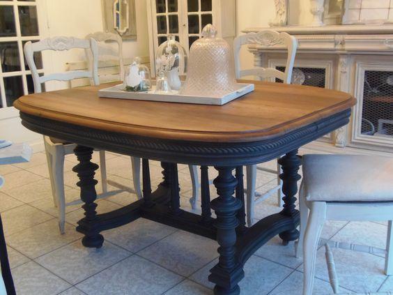 Www Atelierdes4saisons Fr Table Patinee Ardoise Plateau En Noyer Mobilier De Salon Table Salle A Manger Relooking Meuble