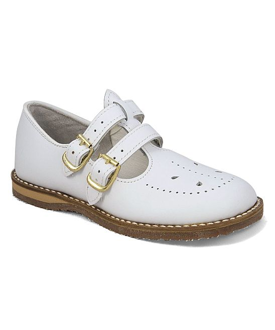 463495412b9a White Skipper Leather Double-Buckle Mary Jane