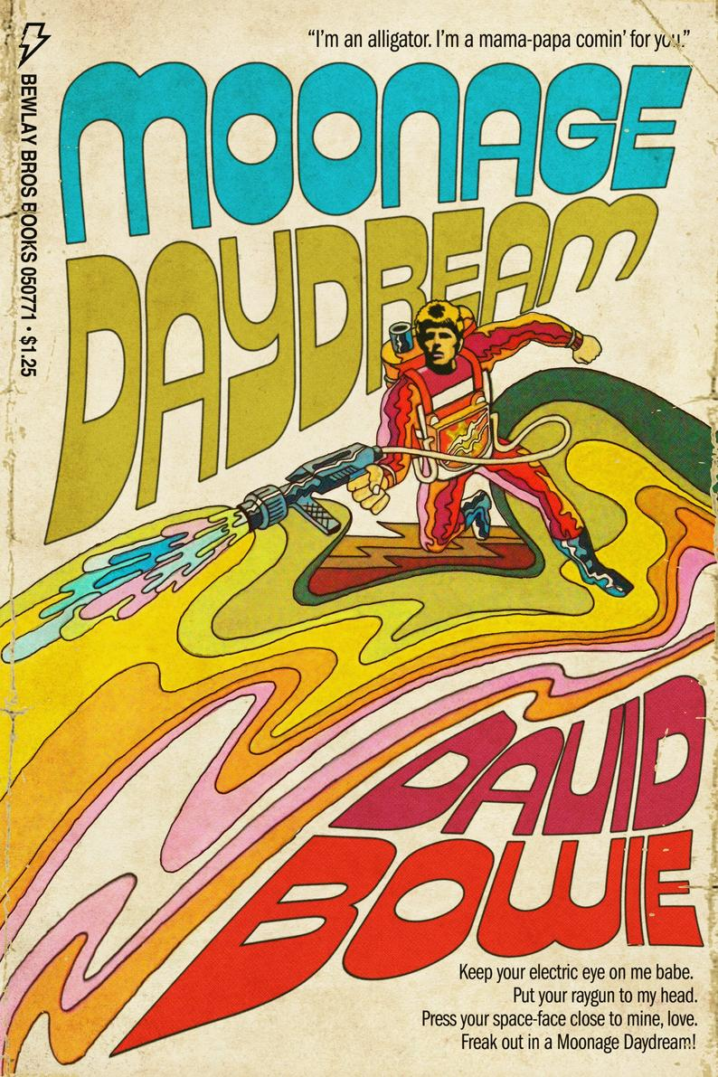 "David Bowie ""Moonage Daydream"" 1970s Sci-Fi Novel Cover Mashup Print"