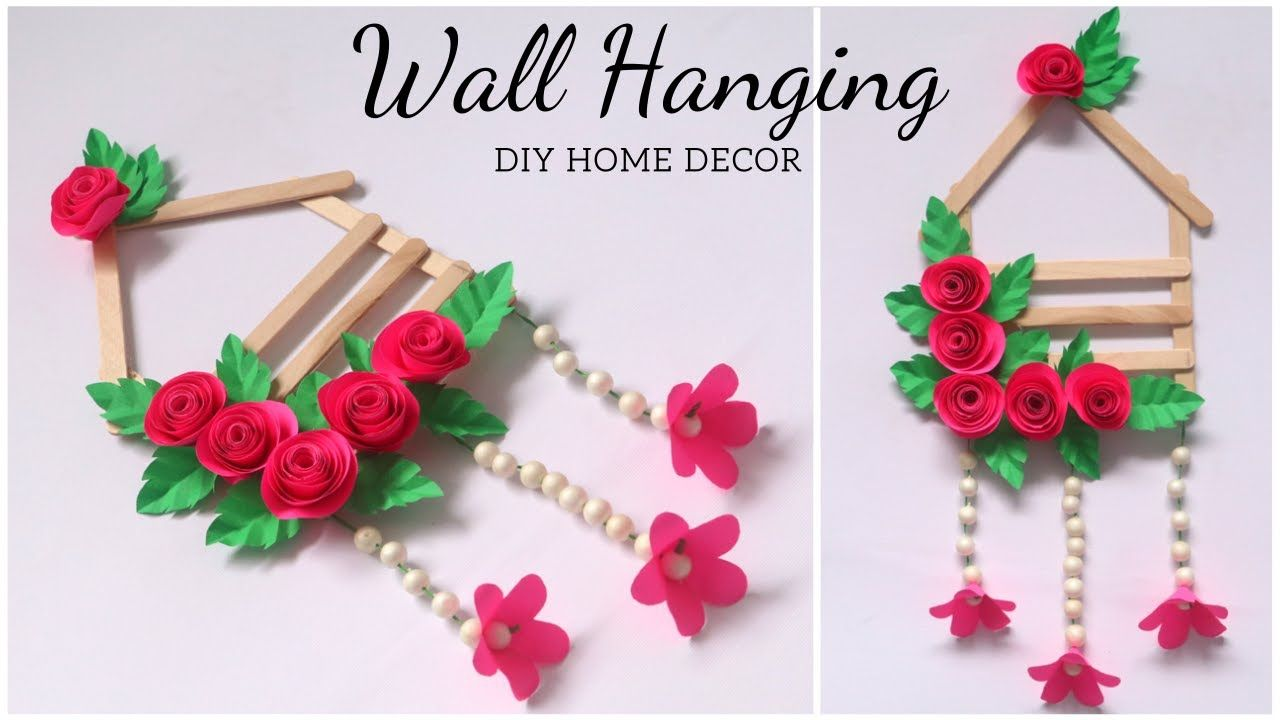 Diy Wall Hanging For Home Decor Easy Paper Flowers And Ice Cream Stick Craft Idea Youtube In 2020 Craft Stick Crafts Wall Hanging Diy Easy Paper Flowers