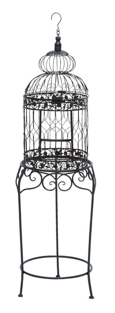 new decorative black bird cage victorian plant stand wedding home decor iron nib unknown if i. Black Bedroom Furniture Sets. Home Design Ideas