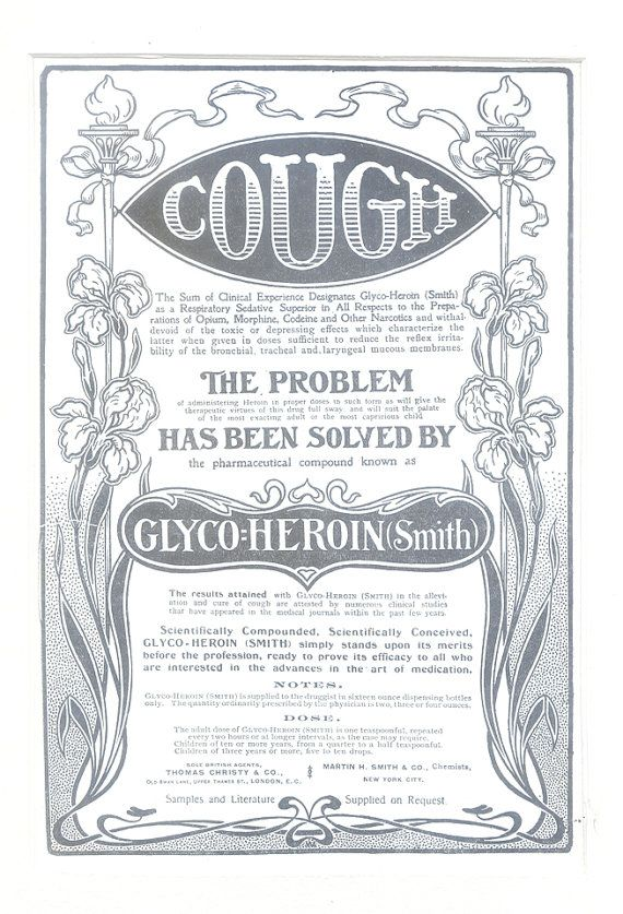 1903 Heroin Advertisement GlycoHeroin Smith by PrometheusArts, $125.00