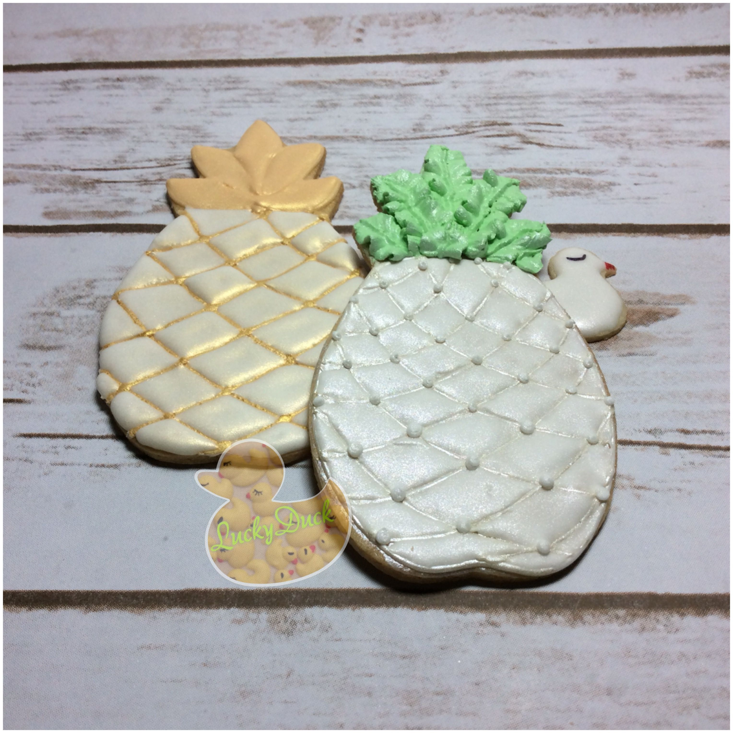 Pineapple cookie, wedding favors, decorated sugar cookies, royal ...