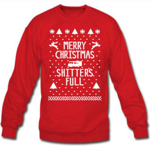 c8920a3af9f Merry Christmas Shitter s Full Ugly Xmas Sweater Winner Mens Crewneck Red  E0084
