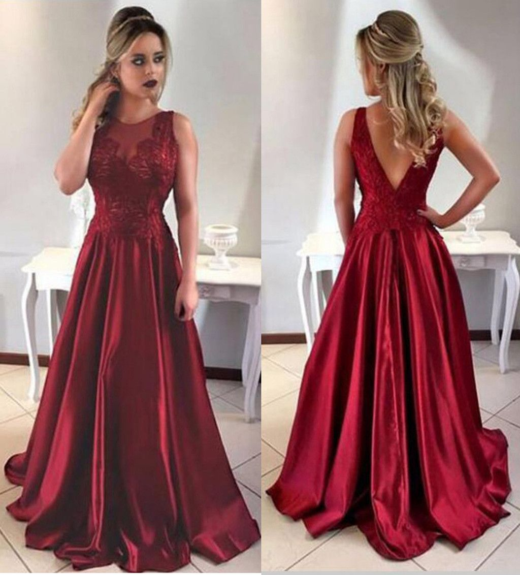 2018 Burgundy Prom Dress Long Evening Gowngraduation Party Dresses