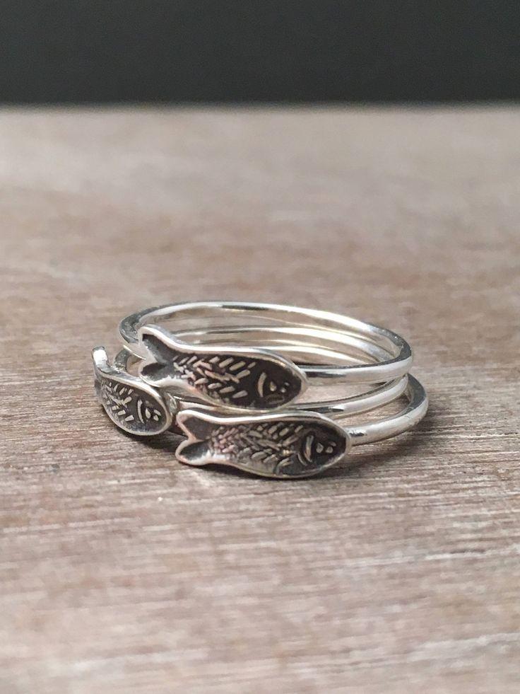 Fisch Stapeln Ringe - Sterling Silber Ringe - einzigartige Ringe - Boho ...   - Rings -