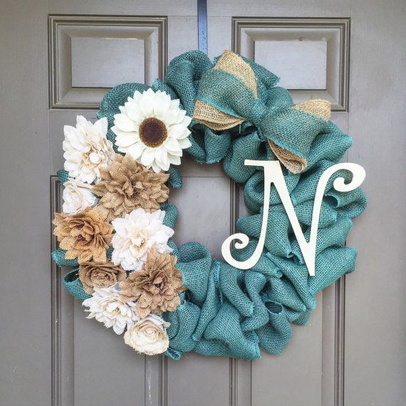 This turquoise burlap wreath is made completely from for What can i make with burlap