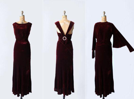 1930s dress - 30s velvet gown & blouse - Art Deco - silk velvet - bias cut - deep burgundy - glass buttons