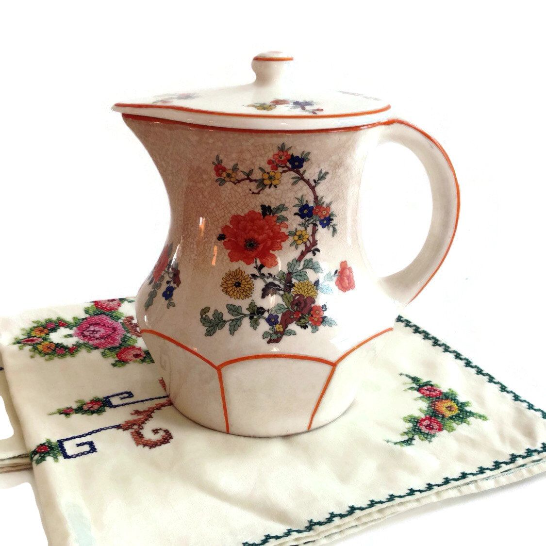 Us pitcher teapot coffee pot with lid floral design orange trim