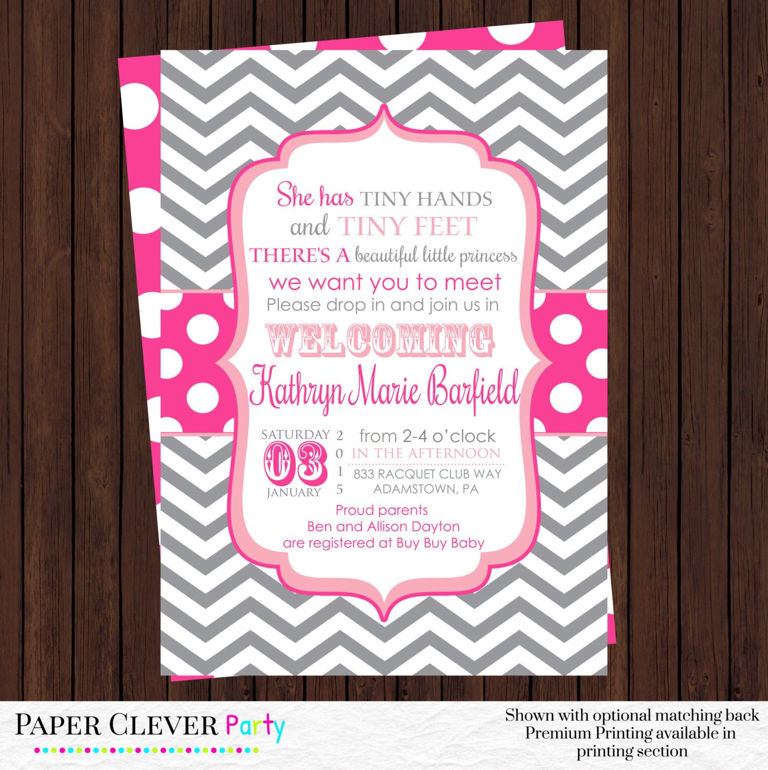 Girls Sip and See Shower Invitations Hot Pink and Gray Chevron with ...