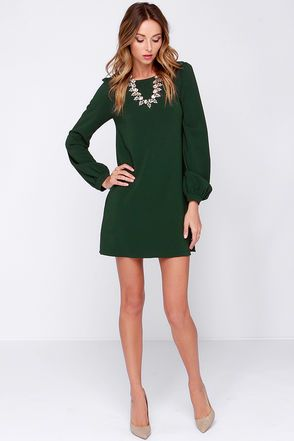 2f2edceb0 Perfect Situation Dark Green Long Sleeve Shift Dress | STYLE ...