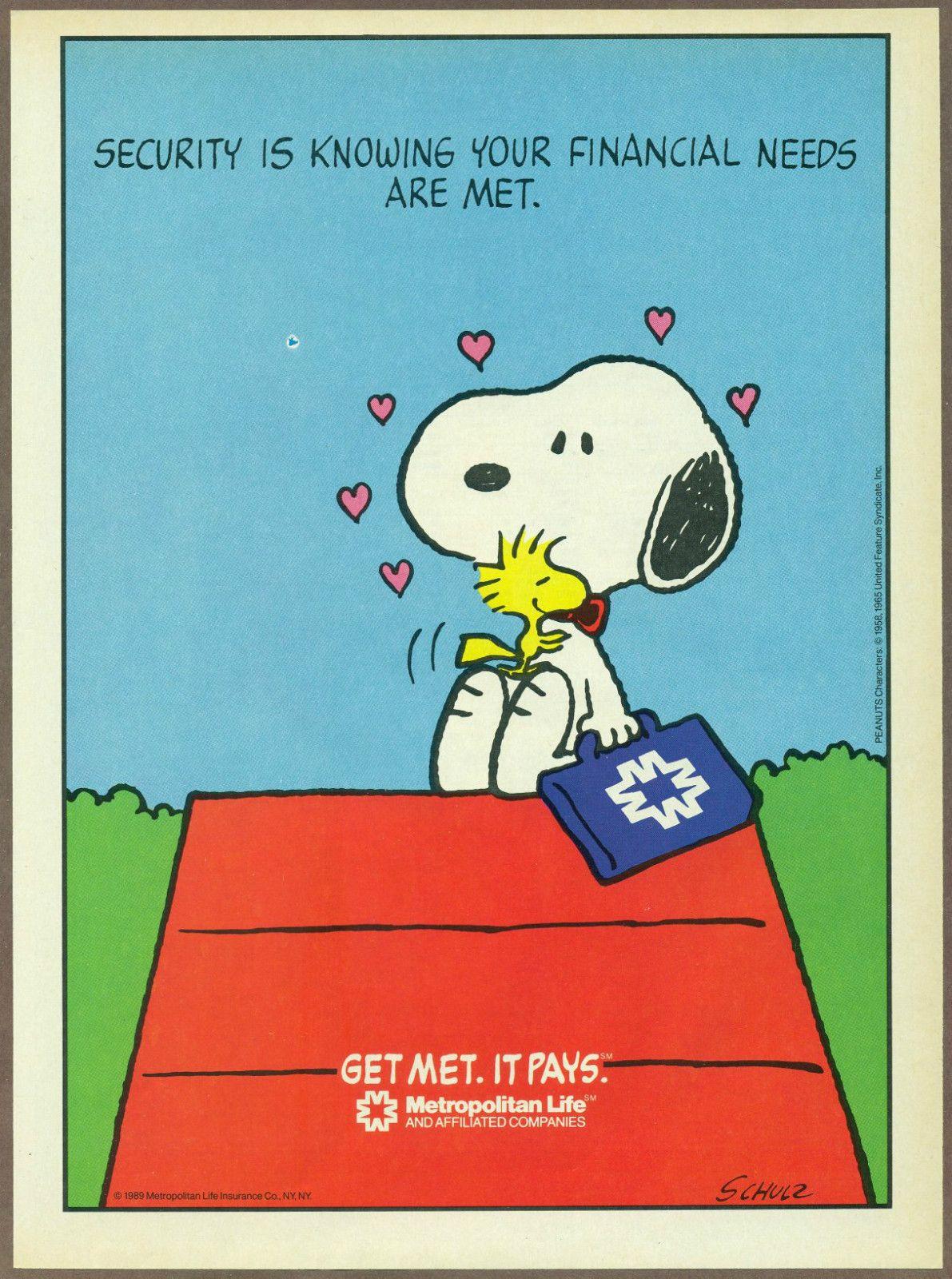 Metlife Life Insurance Quote Pleasing Snoopy Hugging Woodstock Metlife Ad  Peanuts  Metlife  Pinterest
