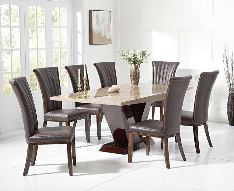 Verbier 200cm Brown V Pedestal Marble Dining Table With Alpine Chairs Dining Table Marble Dining Table Dining Table Design Modern