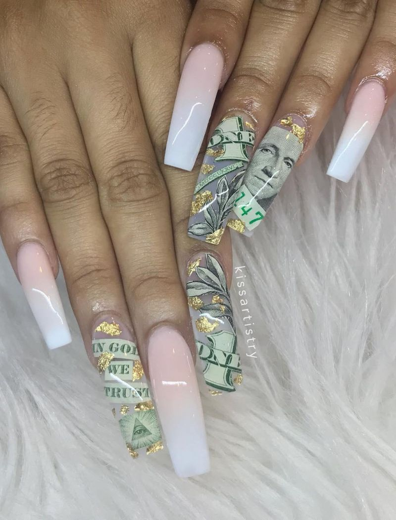 55 Gorgeous Money Nail Art Designs Make You Rich In 2020 Coffin Nails Designs Pretty Acrylic Nails Cute Nails