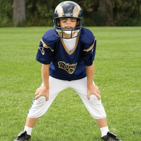 NFL® Deluxe Uniform Set - St. Louis Rams - Your little football fan can look like a real gridiron warrior wearing this official NFL® uniform set! Included is an official home team jersey, team helmet with authentic logo and team colors and team pants that will have them looking ready to take the field. The set also includes iron-on numbers (0-9) for the back of the jersey. Makes a great Halloween costume! - See more at: http://franklinsports.com/shop/nfl-deluxe-uniform-set
