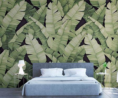 Papier Peint Vintage Mur Vegetal Feuilles De Bananier Sur Fond