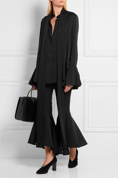 Ellery | Little Me ruffled stretch silk-georgette blouse | NET-A-PORTER.COM