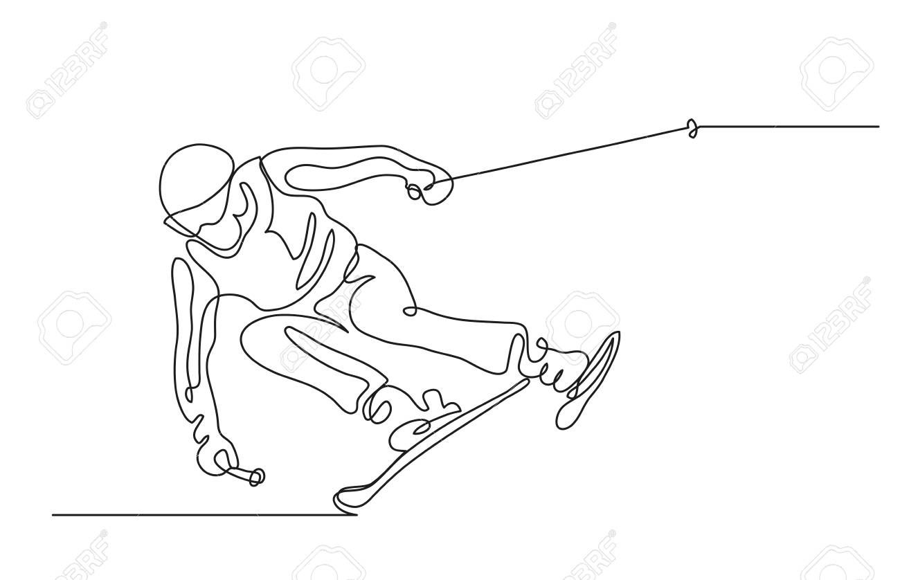 Continuous Line Drawing Illustration Shows A Alpine Skier Skiing Downhill Winter Sport Extreme Vector Illu Line Drawing Continuous Line Drawing Ski Drawing
