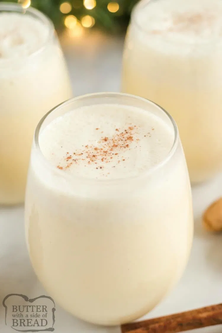 Easy Eggless Eggnog Recipe Can Be Made Quickly In A Blender With French Vanilla Pudding Milk W Eggless Eggnog Recipe Eggnog Recipe Sugar Free Vanilla Pudding