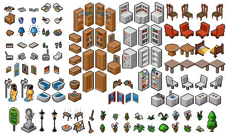 Isometric Pixel Art Furniture Isometric Board