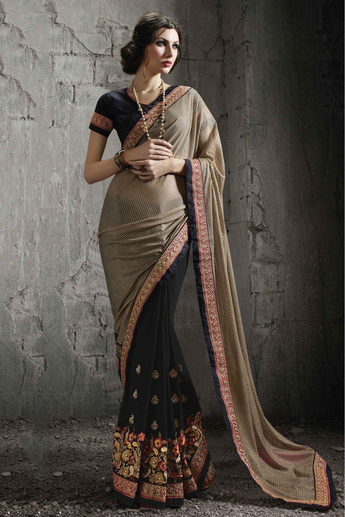 9885ccfea4d Georgette Party Wear Designer Saree in Black Colour
