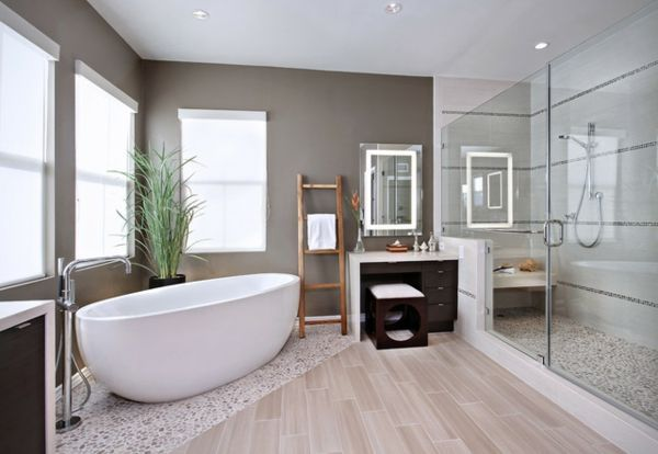 Bathroom Warm Loft Bathroom Interior With Slanted Ceiling And - boden für badezimmer