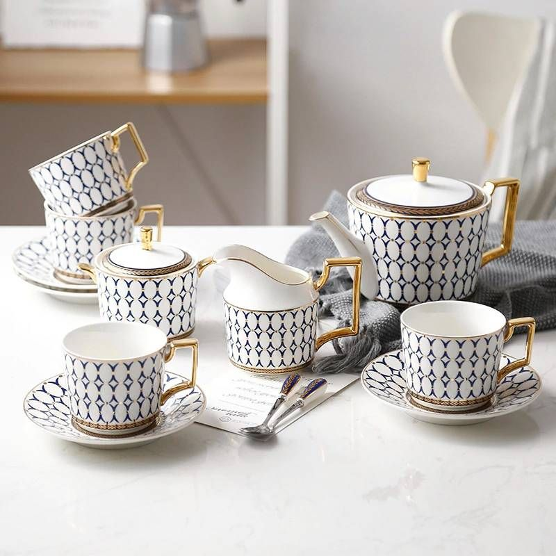 High-grade Bone Coffee Cup Saucer Pot Set Ceramic Coffee Cup European Gold Side Tea Cup Set Gift Box #coffeecup