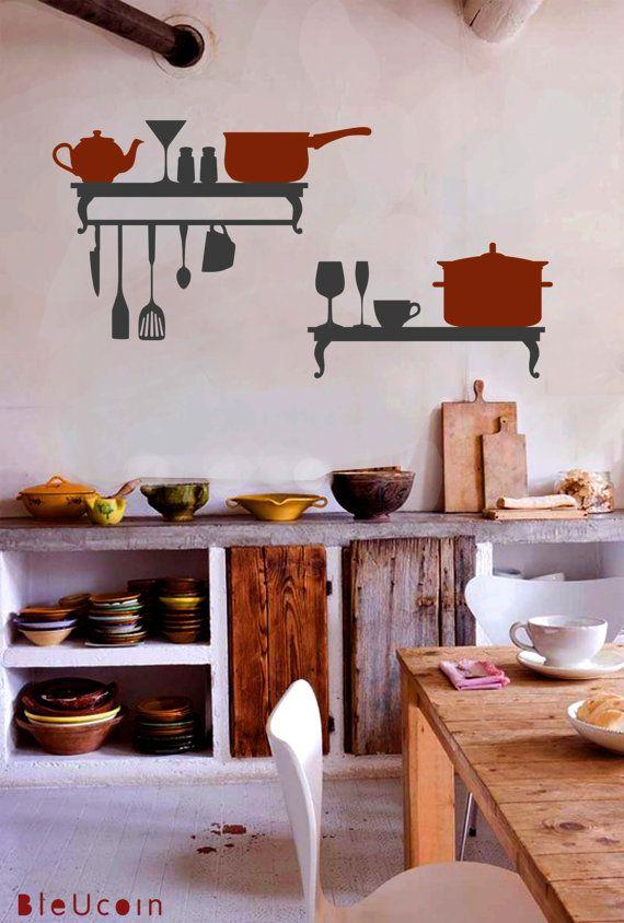 Wall Decals Kitchen Shelf 22 49 Via Etsy Kitchen Wall Decor